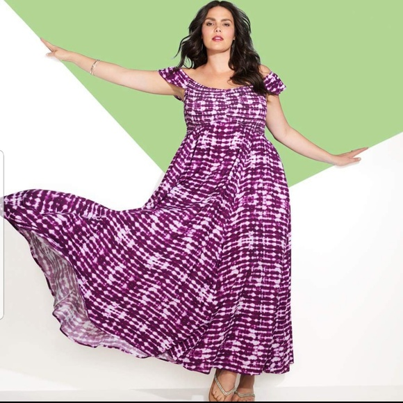 5ec71b7e11d New! 1x 2x Torrid Purple Tie-Dye Maxi Dress